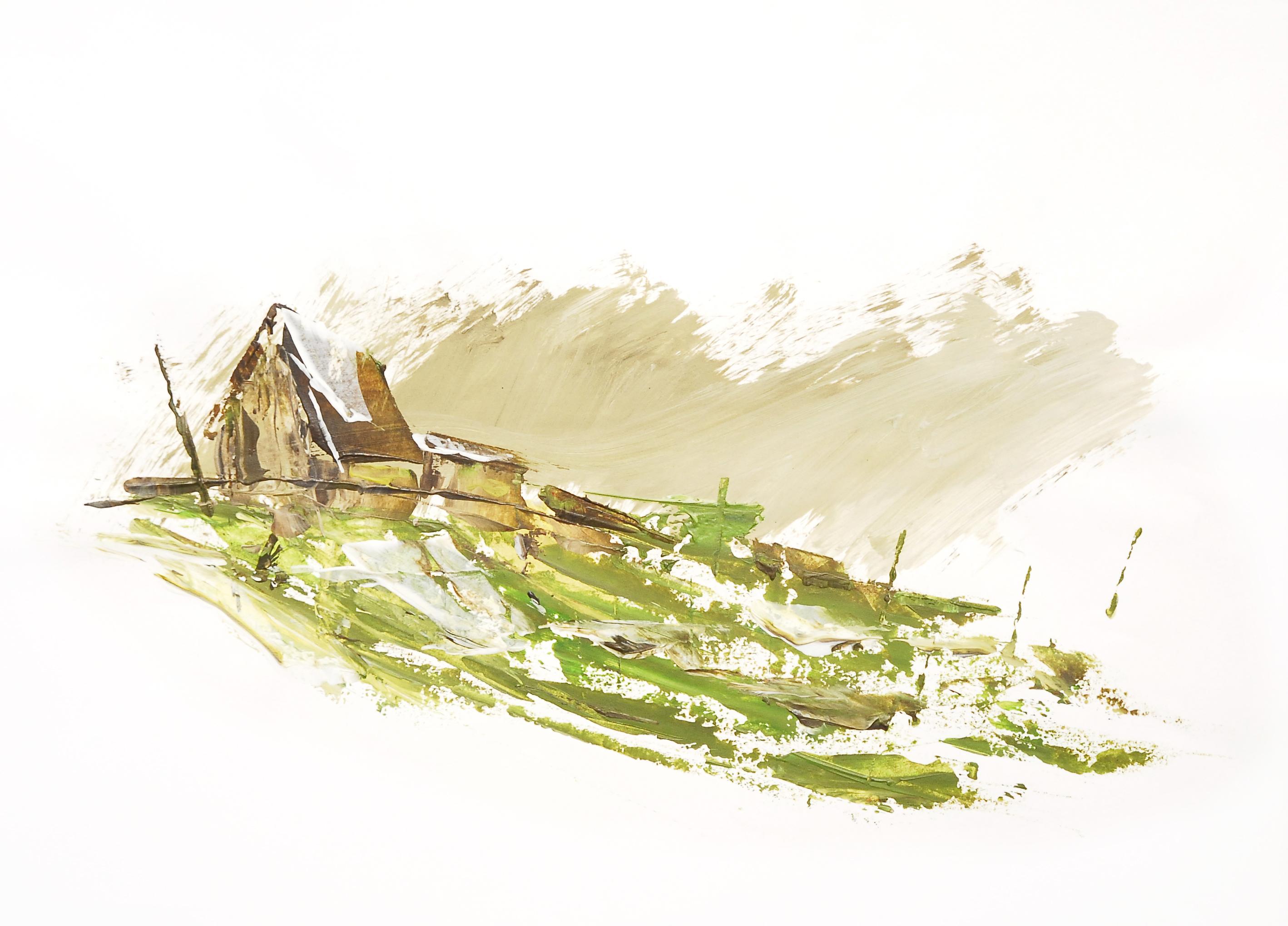 Farbskizze von einem Haus mit grüner Landschaft