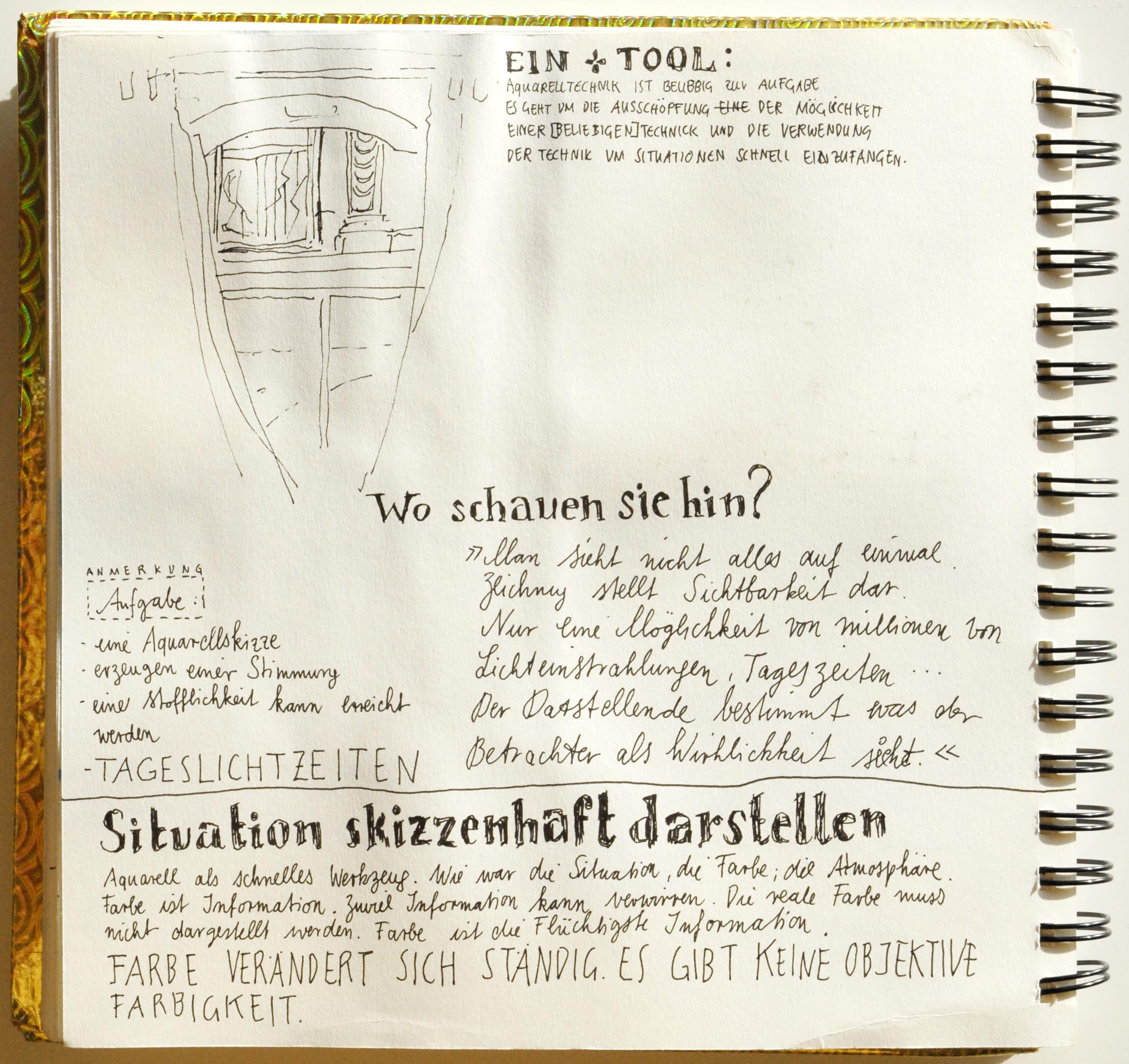 Skizzenbuch mit Kommentaren
